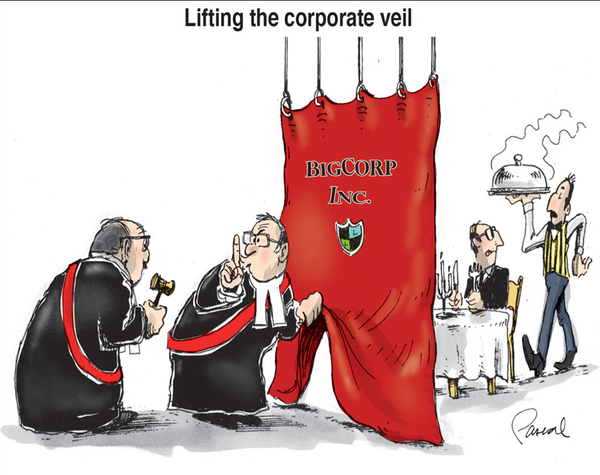 """lifting the coporate veil It is not always applied by the courts, however, and there are certain circumstances where the courts will """"look behind"""" or """"lift the corporate veil"""" to find individuals responsible for bad company acts."""
